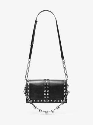 Michael Kors Courtney Studded Calf Leather Shoulder Bag