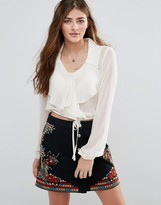 Band of Gypsies Ruffle Front Blouse