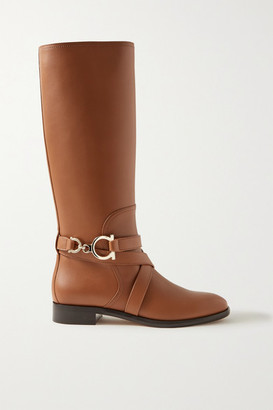 Salvatore Ferragamo Sara Leather Knee Boots - Tan