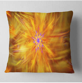 """Designart Glowing Brightest Star Exotic Flower Abstract Throw Pillow - 18"""" X 18"""""""