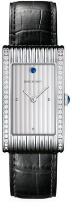 Boucheron Reflet Stainless Steel, Diamond, Sapphire & Alligator Strap Large Watch