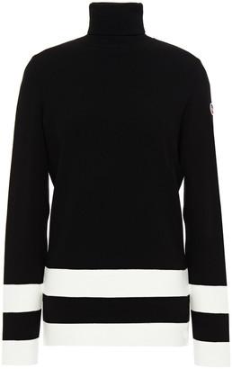 Fusalp Paneled Appliqued Striped Stretch-knit Turtleneck Sweater