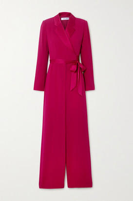 Diane von Furstenberg Monica Belted Satin-trimmed Crepe Jumpsuit - Magenta