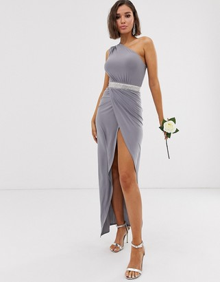 Club L London one shoulder embellished belt bridesmaid maxi dress-Grey