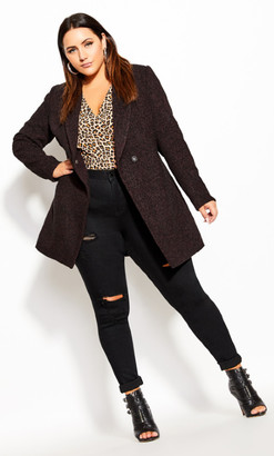 City Chic Textured Bliss Coat - oxblood