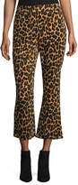 Frame Cheetah-Print Cropped Flared Pants