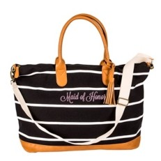 Cathy's Concepts Maid Of Honor Striped Weekender Tote