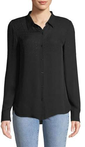 Elie Tahari Macklyn Embellished Silk Blouse