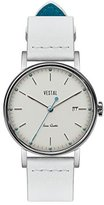 Vestal 'Sophisticate 36' Swiss Quartz Stainless Steel and Leather Dress Watch, Color:White (Model: SP36L04)