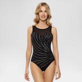 Dreamsuit by Miracle Brands Women's Slimming Control Gold Foil Sunburst High Neck One Piece Swimsuit Black - Dreamsuit