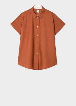 Women's Rust Cotton And Silk-Blend Short-Sleeve Shirt