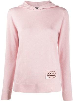 Markus Lupfer Mia sequin lip patch hoodie