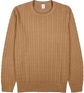 Eleventy Camel cable-knit cotton jumper