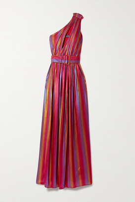 retrofete Andrea One-shoulder Belted Degrade Stretch-lame Maxi Dress - Pink