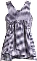 TEIJA V-neck gingham cotton sleeveless top