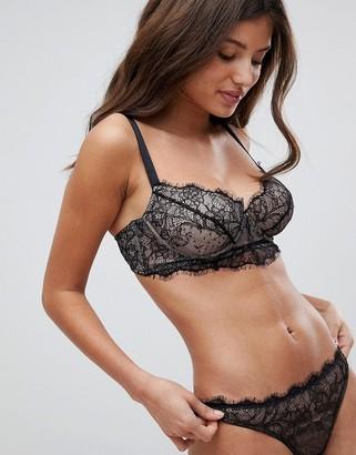 Asos Design FULLER BUST Carmen Eyelash Lace Underwire Bra-Black