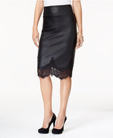 Thalia Sodi Coated Lace-Detail Pencil Skirt, Created for Macy's