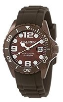 Haurex Italy Women's 1K374DM1 Ink Lady Aluminum Brown Rubber Watch