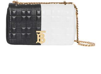 Burberry Small Soft Leather Split Crossbody Bag in White & Black   FWRD