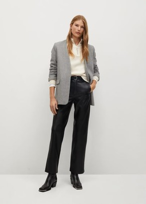 MANGO Herringbone wool-blend blazer