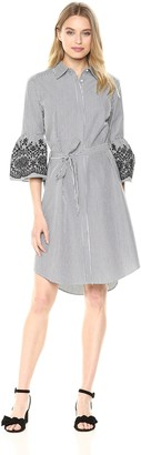 Calvin Klein Women's Bell Sleeved Shirt Dress with Embroidery