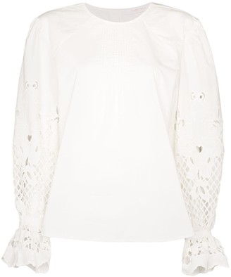 See by Chloe Pouf-Sleeve Floral Detail Blouse