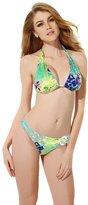 Generic Colloyes Red Floral Halter Top w/ Classic Cut Bottom Bikini Swimwear - , S