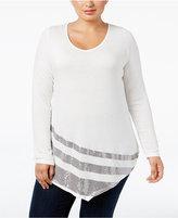 Belldini Plus Size Sequined Asymmetric-Hem Top