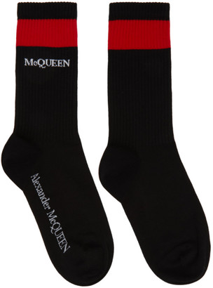 Alexander McQueen Black and Red Logo Socks