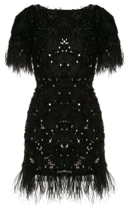 macgraw Feather Trimmed Sequined Dress