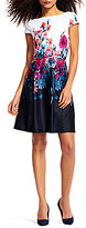 Adrianna Papell Round Neck Cap Sleeeve Floral Printed Fit & Flare Dress