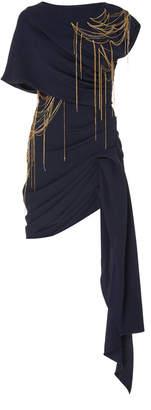 Oscar de la Renta Embellished Draped Silk Mini Dress