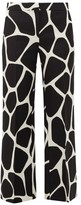 Valentino 1966 Giraffe-print Wool-blend Trousers - Womens - Black White