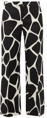 Valentino 1966 Giraffe-print Wool-blend Trousers - Womens - Black White