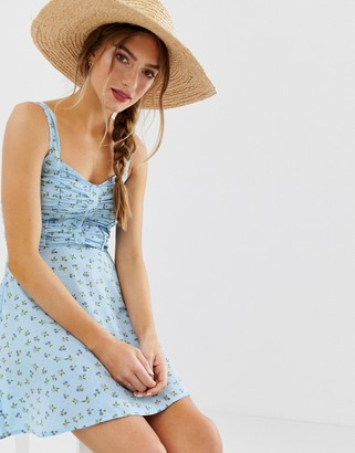 Asos Design DESIGN ruched bust button through mini sundress in floral print-Multi
