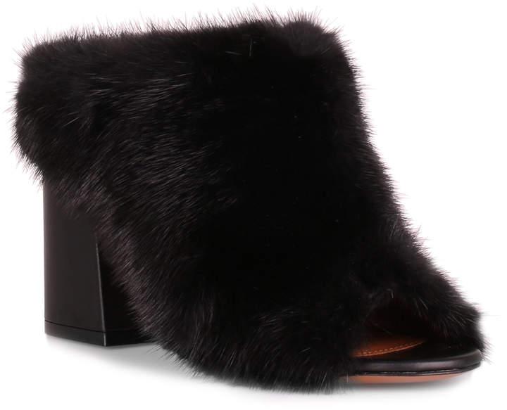 Givenchy Paris black mink mule