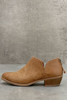 Qupid Stands Apart Camel Ankle Booties