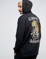 Criminal Damage Hoodie With Tiger Back Print