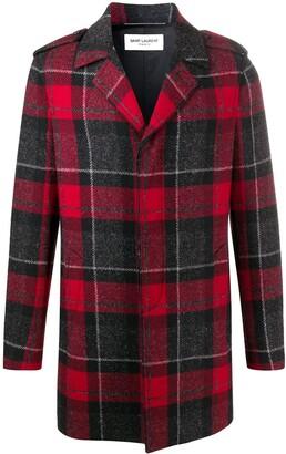 Saint Laurent Tartan Single-Breasted Wool Coat