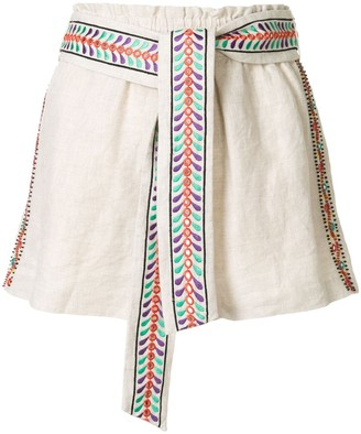 Alice + Olivia Linn embroidered linen shorts