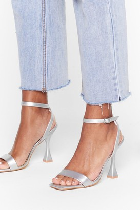 Nasty Gal Womens Heel the Deal Metallic Louis Heels - Silver