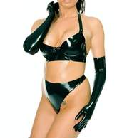 EXLATEX Women Latex Rubber Lingerie Set Bra Gloves and Thong Briefs Fetish