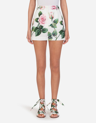 Dolce & Gabbana Tropical Rose Print Poplin Shorts