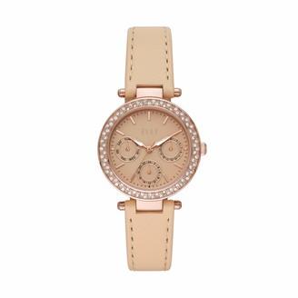 Elle Marais Multifunction Nude Leather Watch