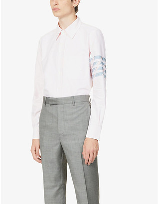Thom Browne Striped-panel slim-fit cotton shirt