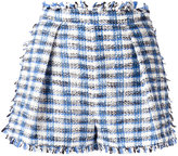 MSGM fringed plaid shorts