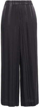 Charli Cropped Striped Satin-jacquard Wide-leg Pants