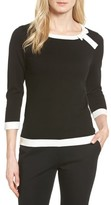 CeCe Women's Bow Trim Tipped Sweater