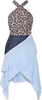 Antonio Berardi Asymmetric Poplin-paneled Brocade And Georgette Halterneck Dress - Blue