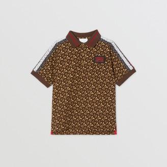 Burberry Childrens Monogram Stripe Print Cotton Pique Polo Shirt